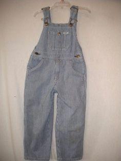 Key Toddler Size 3T Blue/White Railroad Stripe Boys Jean Denim Overalls #Key…