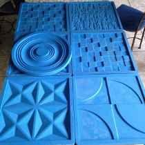 Molde Silicone Gesso Placas Parede - 6 Peças Em 3d - 39x39cm