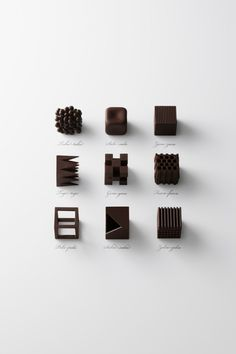 Food design Chocolate - Chocolates That Represent Japanese Onomatopoeic Words To Describe Texture Chocolate Texture, Types Of Chocolate, Chocolate Art, Chocolate Shapes, Chocolate Designs, Japanese Chocolate, Chocolate Boxes, Chocolate Bouquet, Chocolate Cream