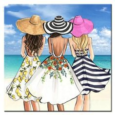 Drawing Of Girls Easy Bff - Drawing Best Friend Drawings, Bff Drawings, Illustration Mode, Illustrations, Woman On Beach, Modelos Fashion, Bff Pictures, Cross Paintings, Fashion Art