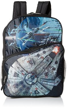 bd611a1c895 Star Wars Boys  Disney Millennium Falcon Black 16 Inch Backpack, Multi, One  Size Dimensions 16 x 12 x 5 cold Multi compartment Adjustable straps Side  mesh ...