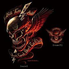 military t-shirts kill 'em all skull t-shirt 2 sided design. cotton t-shirt. Girl Arm Tattoos, Skull Tattoos, Sleeve Tattoos, Grim Reaper Art, Freundin Tattoos, Totenkopf Tattoos, Flame Art, Skull Pictures, Skull Wallpaper