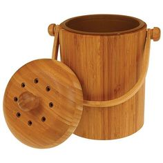Odor-Free Compost Keeper Bamboo Pail with Filter | Gardeners Edge