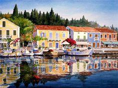 Watercolors by Pantelis Zografos Art Aquarelle, Art Watercolor, Watercolor Landscape, Landscape Paintings, Art Paintings, Pastel Paintings, Landscape Photos, Landscapes, Nana Mouskouri