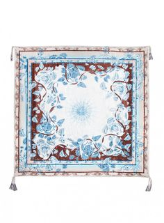 Irina Scarf The Johnny Was Signature Silk IRINA SCARF features an Art Nouveau-inspired botanical print in chic cream, brown, white, and blue hues. Try this printed silk scarf draped, knotted, or wrapped to add a feminine finishing touch to any outfit!  - Square Silk Scarf - Signature Silk