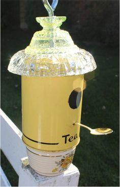 Yellow Bird House Vintage Tea Tin Upcycled Birdhouse Vintage Yellow Rose Sugar Bowl Silver Teaspoon True North Repurpose Rustic Industrial by