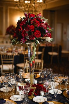 Tall centerpiece ideas, red roses, gold accents, calla lilies, romantic wedding ideas
