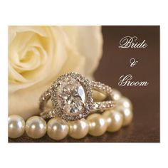 Oval Diamond and Pearls Engagement Announcement | Zazzle He proposed and you accepted! You are now engaged to be married. Announce your recent engagement with the elegant Oval Diamond Ring and Pearls Engagement Announcement. Customize it with the personal ✿