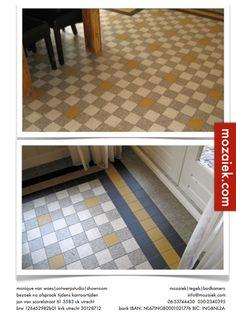 tegels 10x10 cm | koud gelegd | jaren 30 woning tegelvloer | keukenvloer | 3d ontwerp  | monique van waes mozaiek.com