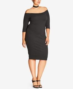 City Chic Trendy Plus Size Off-The-Shoulder Bodycon Dress - Black
