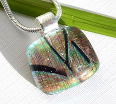 Small Golden Dichroic Glass Necklace - Fused Glass Jewelry - Square Glass Pendant by TremoughGlass on Etsy