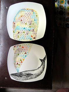 Blue  Whale Geometric Design Plates hand illustrated porcelain Set of two. €60.00, via Etsy.