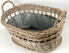 """20"""" Bleached Wicker Basket & Galvanized Tub $48 each / 2 for $45 each  Save on crafts"""
