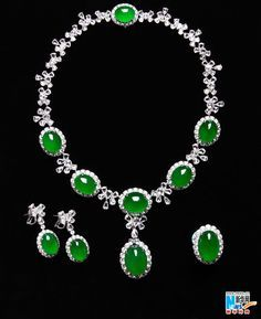 GABRIELLE'S AMAZING FANTASY CLOSET | JP: Imperial Jadeite Necklace, Earrings, Ring Suite |