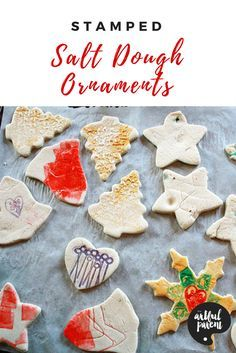 Stamped salt dough ornaments are easy handmade Christmas ornaments for the tree and a fun family tradition. Tips and recipe included!