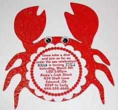 Crab Under the Sea gamma chi invitations Mermaid Birthday, Birthday Fun, 1st Birthday Parties, Birthday Ideas, Crab Party, Underwater Party, Happy Cake Day, Preschool Projects, Baby Momma