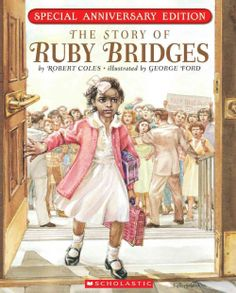 THE STORY OF RUBY BRIDGES by Robert Coles, illustrated by George Ford. This true-to-life story of six-year-old Ruby Bridges whose courage to begin school also helped the integration of schools in New Orleans. Reading the fears and feelings of Ruby Great Books, My Books, Robert Cole, Writing Mentor Texts, Writing Prompts, American Children, American Girls, Thing 1, Children's Literature
