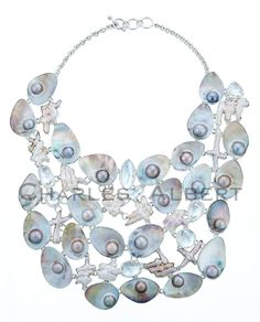 Style# LBN37: Aphrodite's Secret Necklace: Mabe Blister Pearl, Biwa Pearl & Clear Quartz set in sterling silver.