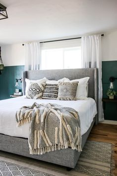 Decorating your master bedroom doesn't have to be difficult. With a little help from The Home Depot, Chelsea Johnson took her bedroom from blah to boho. Bedding Master Bedroom, Home Bedroom, Bedroom Decor, Bedroom Bed Design, Bedroom Eyes, Master Bedrooms, Tan Walls, Bedroom Wall Colors, Apartment Living