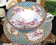 Sarreguemines France Antique Minton Painted RARE Moustache Tea Cup and Saucer