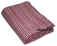 Queen Cotton Kantha New Indian Quilt Block Print Kantha Bedspread Throw Blanket Kantha Quilt, Quilts, Vintage Bedspread, Indian Quilt, Quilted Throw Blanket, Cotton Throws, Queen Quilt, Bed Covers, Art Deco Fashion