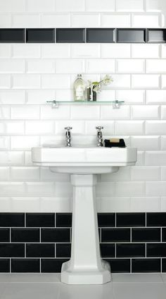 bathroom tile ideas black and white - Google Search