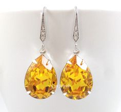 Yellow Earrings, Yellow Topaz Bridesmaids Swarovski Crystal Teardrop Earrings, Sunflower Yellow Citrine November Birthstone Earrings by LynJewels on Etsy https://www.etsy.com/listing/470869386/yellow-earrings-yellow-topaz-bridesmaids