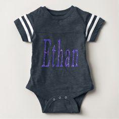 Ethan Name Logo Baby Boys Blue Bodysuit. Baby Bodysuit - diy cyo customize create your own personalize