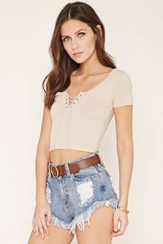 Lace-Up Crop Top | Forever 21 - 2000152145