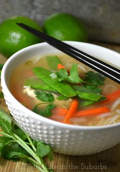 Vietnamese Chicken Noodle Soup - A Pretty Life In The Suburbs Vietnamese Chicken Soup, Vietnamese Cuisine, Vietnamese Noodle, Chicken Pho, Asian Soup, Asian Recipes, Healthy Recipes, Ethnic Recipes, Healthy Foods