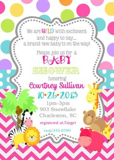 12 Jungle Animals Baby Shower invitations safari by noteablechic, $12.50