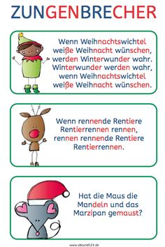 Christmas tongue twister – Famous Last Words Early Intervention Program, Kindergarten Portfolio, Tongue Twisters, Reading Practice, Learn German, Kids Behavior, Educational Programs, German Language, Famous Last Words