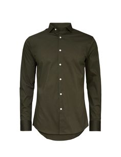 Men's shirt in cotton blend with stretch. Small cutaway collar. Slim fit. str 41