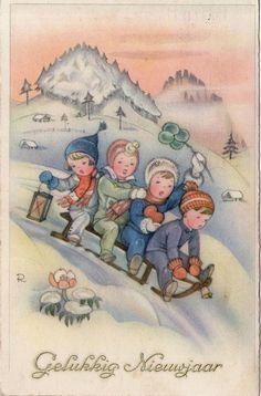 AK - Künstlerkarte CHARLOTTE BARON - KINDER auf SCHLITTEN - Gel. 1938 Niederland in Sammeln & Seltenes, Ansichtskarten, Motive | eBay
