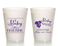 A Baby is Brewing Baby Shower Cups Personalized Frosted Flex Cups Gender Reveal Plastic Party Cups Frosted Cups Monogrammed Cups 1342 by SipHipHooray