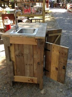 Sink Cabinet For Outdoor Entertainment Area, Kitchen Or Bathroom Made With Reclaimed Wood
