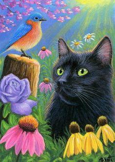 Black cat blue bird spring flowers garden landscape original aceo painting art #Miniature