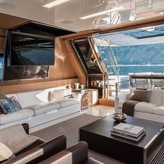 """The 10 Finest Riva Yachts of All-Time """"Stunning Yacht Interior! All credits go to the owner/ photographer"""" Luxury Yacht Interior, Luxury Boat, Boat Interior, Best Interior Design, Luxury Travel, Yacht Design, Luxury Furniture, Cool Furniture, Baby Furniture"""