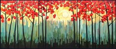 Autumn Sunrise II - fine art by Patty Baker - original and commissioned paintings, contemporary acrylic paintings