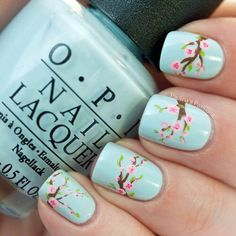 baby blue, beautiful, cherry blossom, girly things, love, nail art, nail polish, nails, o.p.i, opi, pretty