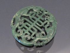 Vintage Natural Green Jade Carved Lion Chinese by wandajewelry2013