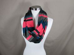 Infinity Scarf in Blue Pink Black and Gray Print Handmade Lightweight Scarf Spring Scarf Summer Scarves