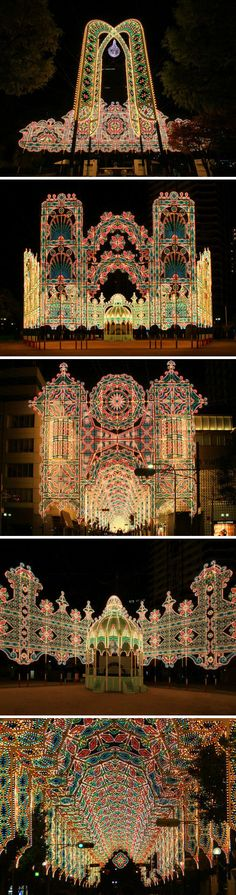 Kobe, Japan.  Kobe Luminarie Festival,Originally conceived as a commemoration to the victims of the Great Hanshin Earthquake of 1995, this 'festival of light' provides cheer for its citizens and has become a great showcase for the city's recovery.