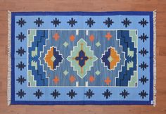 Indian Dhurrie Rug - 4x6, Navajo Cotton Rug, Southwestern Rug, Bohemian Rug, Persian, Kilim, Moroccan Tribal Rug, Colorful Rug CD-197 by DhurrieWorld on Etsy