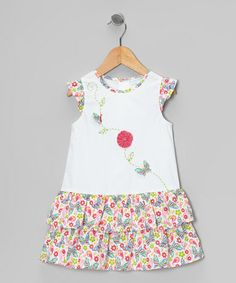 Take a look at this White Butterfly & Flower Drop-Waist Dress - Infant & Toddler by La Fleur & Le Papillon on #zulily today!