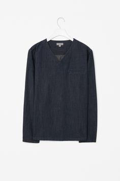 V-neck chambray tunic