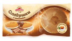 Packaging of pancakes for a brand Aladushkin by Agapov Kirill, via Behance