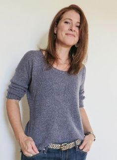 """Rachel is worked from the top-down, in one piece and seamlessly. With its flattering round neck, ¾ sleeves and subtle 'belt' detail, it will sure become a go-to piece in your wardrobe!Choose a size with 10 to 15 cm or 4 to 6"""" of ease.Shown inHolst Garn Uld/Silke. A suggested substitute yarn is below."""