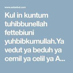 Kul in kuntum tuhibbunellah fettebiuni yuhbibkumullah.Ya vedut ya beduh ya cemil ya celil ya ALLAH.