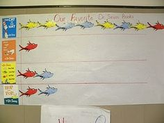 For Dr.Seuss day have class graph favorite Dr. Seuss book. This can be adapted for many different grade levels. In 5th grade have the students make comparisons based off the data. 5.MD.2 make a line plot to compare measurements in fractions of a unit. Solve problems involving information presented in line plots.